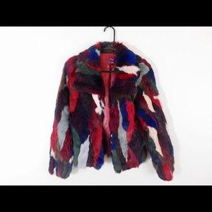multi color fur coat